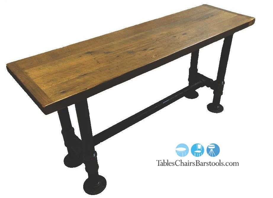 Create a rustic industrial look with this 2 black iron for Rustic pipe table