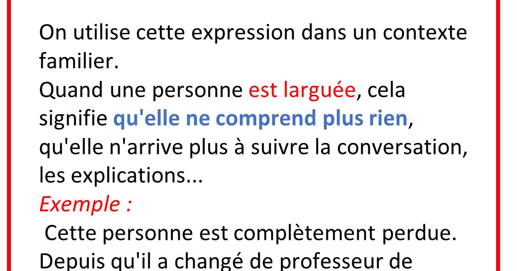 Etre Largue Apprendre Le Francais Professeur Cours De Francais