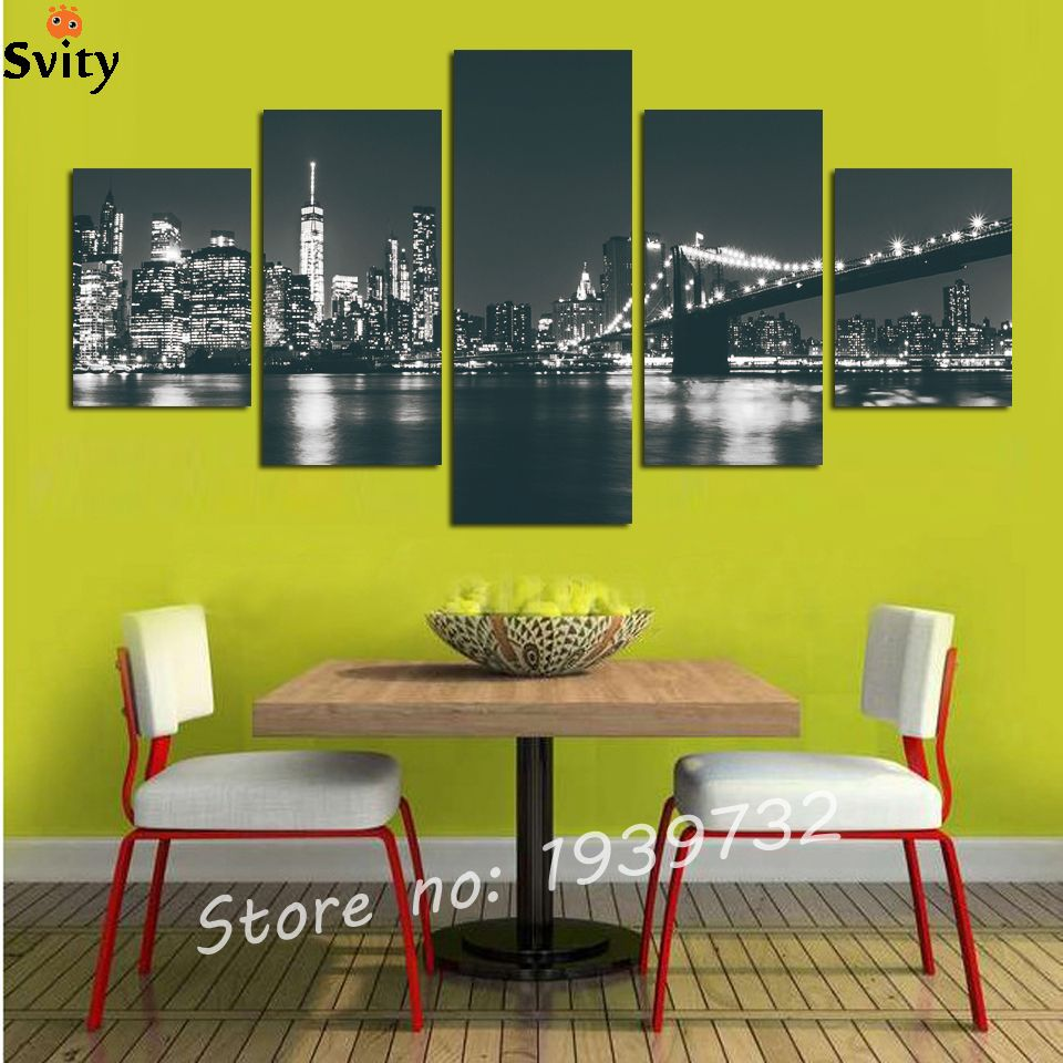 unframed 5Pcs set The Night Landscape Of Brooklyn Bridge In New York ...
