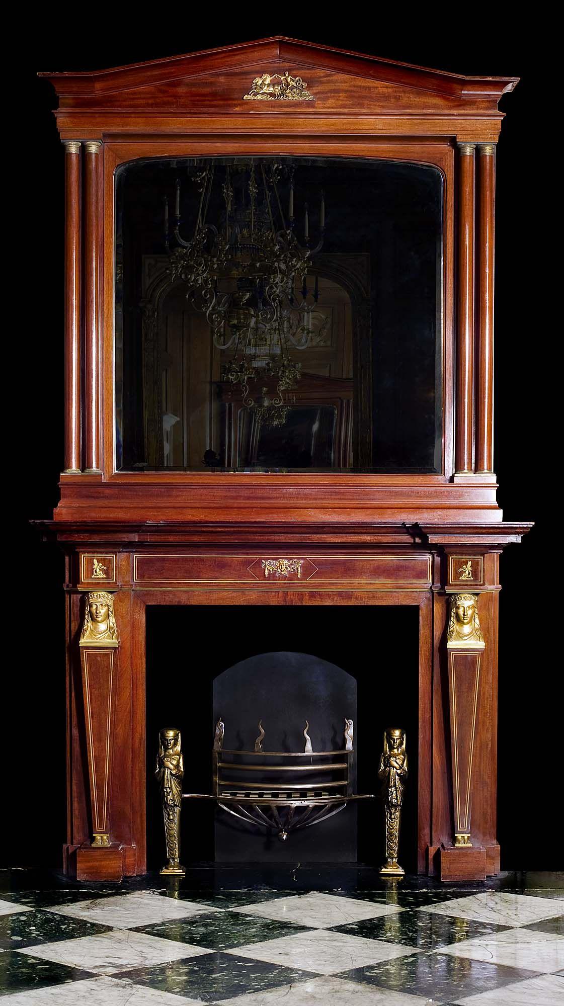 Empire Mahogany Antique Fireplace Mantel