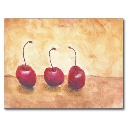 3 Cherries Post Card. Still life watercolor.