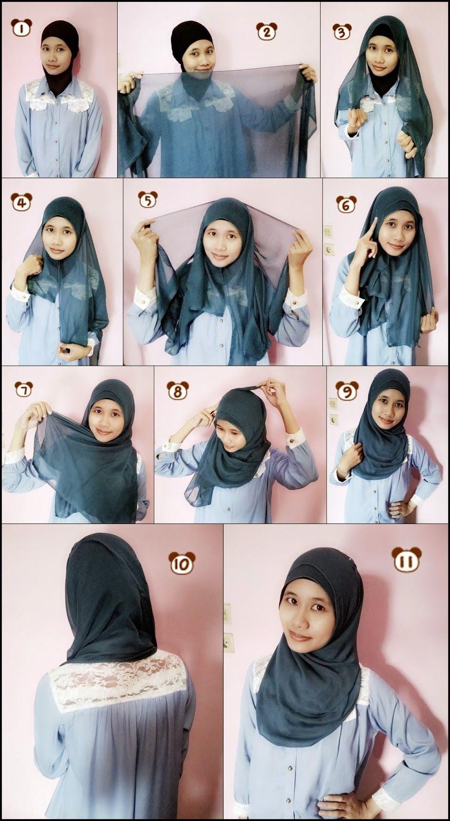 Tutorial Hijab Segi Empat Tanpa Ciput Cara Memakai Kerudung Segi
