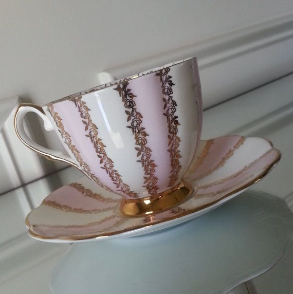 Antique pink white and gold roses Royal Talbot tea by Pickedtwice, $28.00