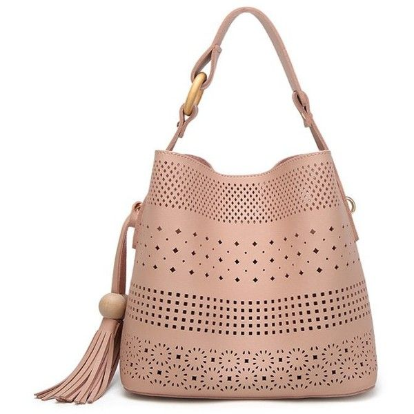 Tassel Hollow Out Tote Bag Pink ($21) ❤ liked on Polyvore featuring bags, handbags, tote bags, tassel handbags, white tote handbags, white purse, tote handbags and tote hand bags