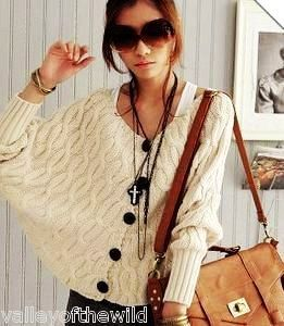 White Chunky Cable Knit Cardigan Sweater - Chunky Cable Knit Cardigan Sweater With Batwing Sleeves
