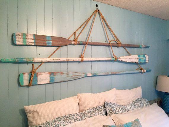 Vintage Oar Paddle Headboard King Or Queen Size Beach House Style Wall Art Coastal Nautical By Castawayshall Ready To Ship Paddle Decor Beach House Style Beach