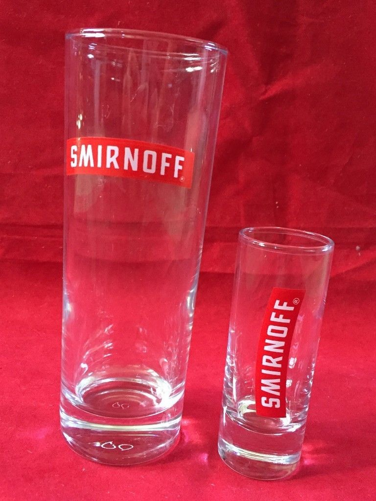 488e33ed0929 New Smirnoff Drink cleaGlass-Smirnoff Vodka Long-Shot Drink Glasses Red  Logo 2 (eBay Link)