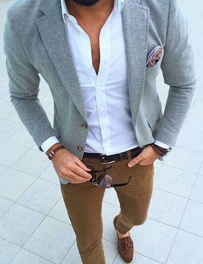 e516722d95f7 crisp white oxford. gray blazer. caramel chinos. chocolate suede loafers.  dark brown belt. watch. bracelets. shades. paisley pocket square. dapper.  dope. ...