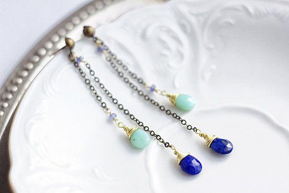 Long dangle chain earrings with brass chain blue by SabiKrabi, $28.00