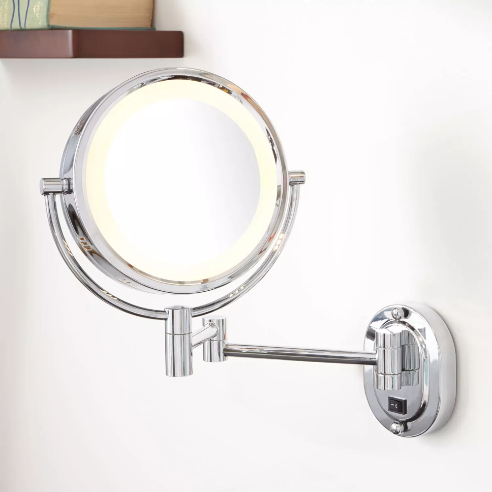 Halo Lighted Wall Mounted Double Sided Mirror In Bronze In Plug In Signature Hardware In 2020 Bathroom Mirror Design Mirror With Lights Lighted Vanity Mirror
