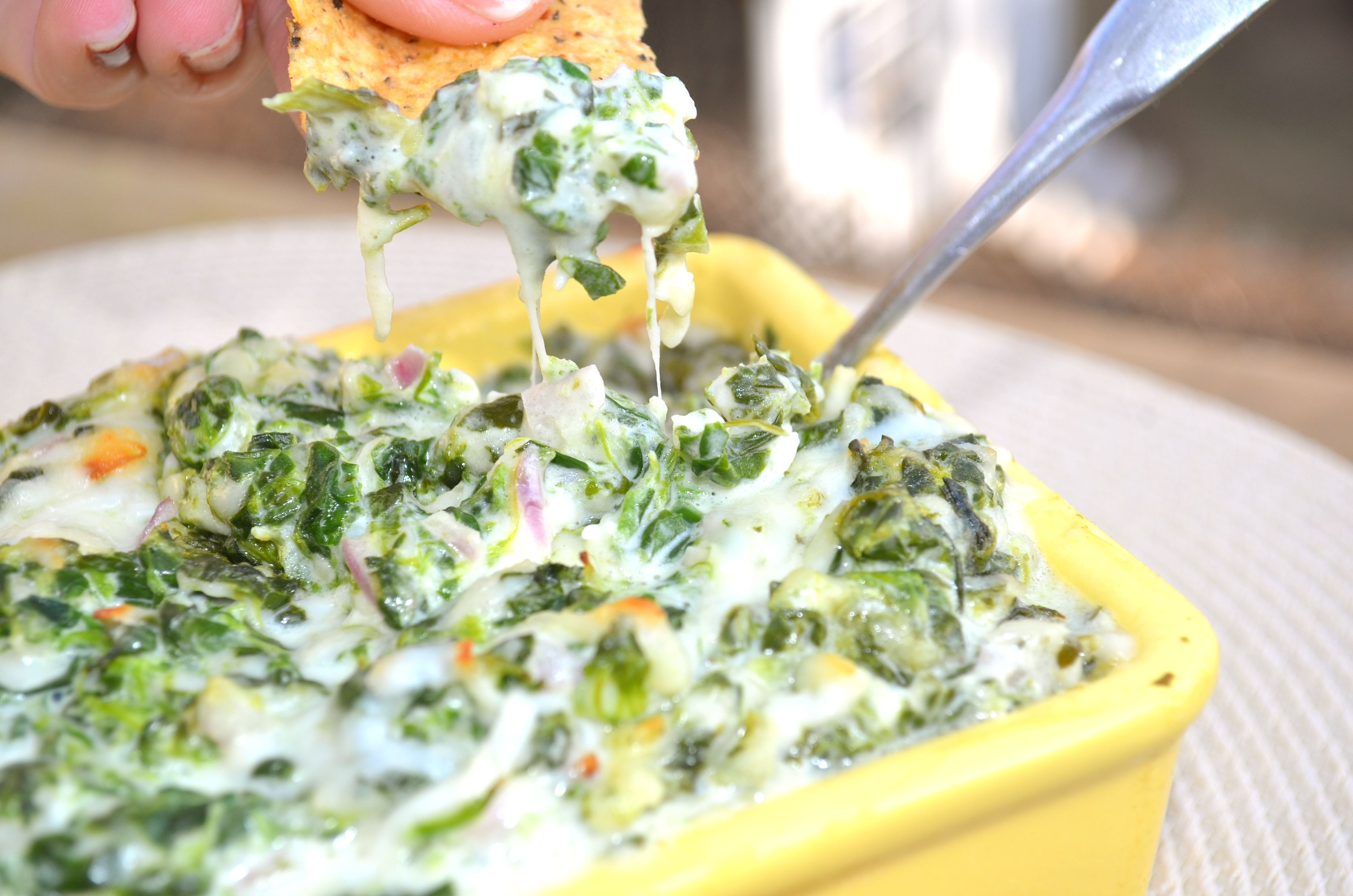Skinny Hot Spinach Dip, perfect for Sunday Football!