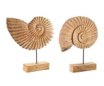 Set de 2 figuras decorativas de madera de mango Angelina