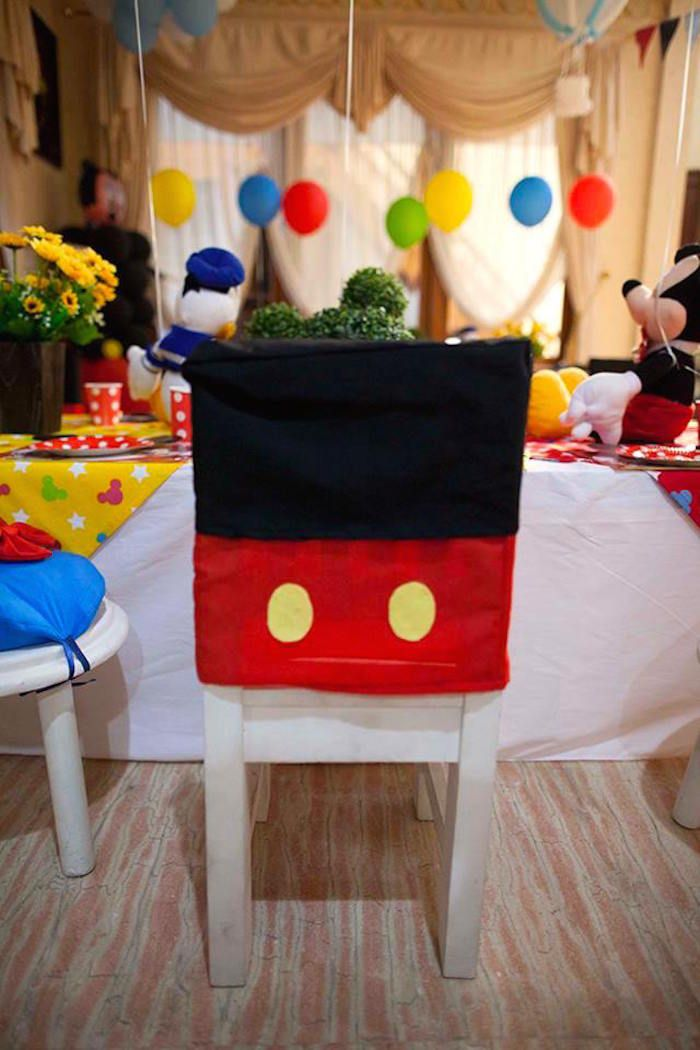 Chair Cover At A Mickey Mouse Clubhouse Themed Birthday Party Via Karau0027s  Party Ideas | KarasPartyIdeas.com (9)