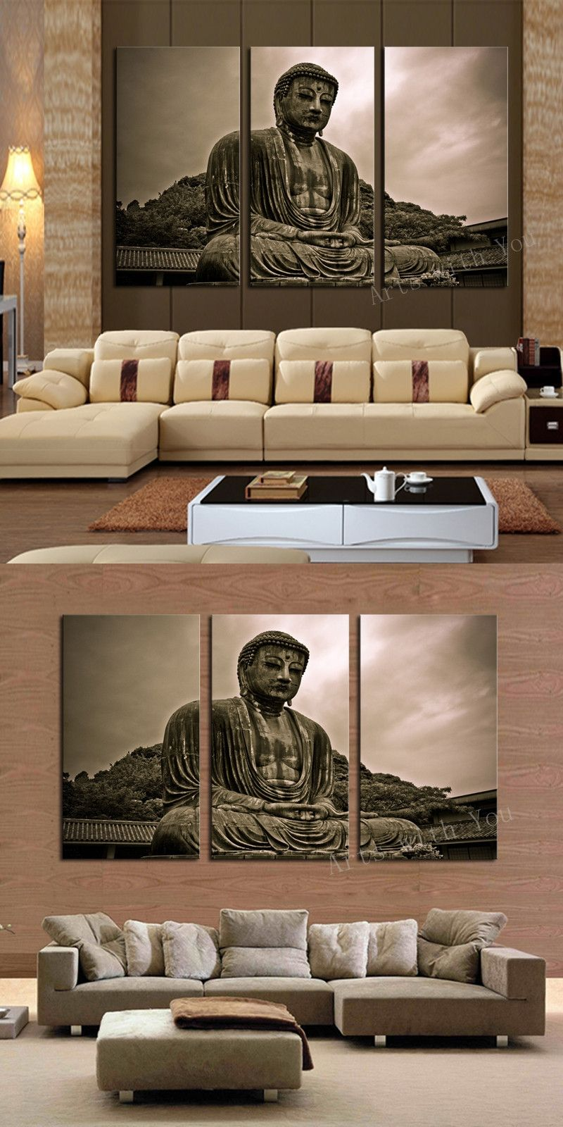 3 Piece Figure Painting Grand Buddha Art Canvas Home Living Room Wall  Decoration Artwork HD Print