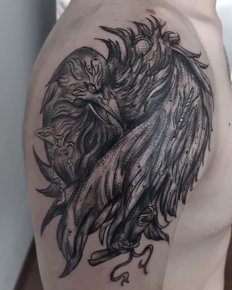¡Increíble! Sigan a @teruya.art para más trabajos asombrosos. Artista #pommenoireart - - - -  #tattooed #tattoodesign #tattoolife #tattoolover #art #blackwork #sketch #realismotattoo #draw #arttattoo #instagood #instapic #artist #tattooist #birdtattoo #raven #tattooideas #Tattoo #perutattoo #tattoostyle #peru #tattooofday #blackwork #tatuajes