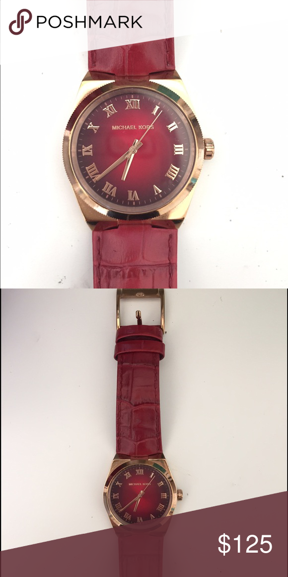 bc3d53e037a1 Michael kors Channing red leather rose gold watch This is the Channing watch  with a rose