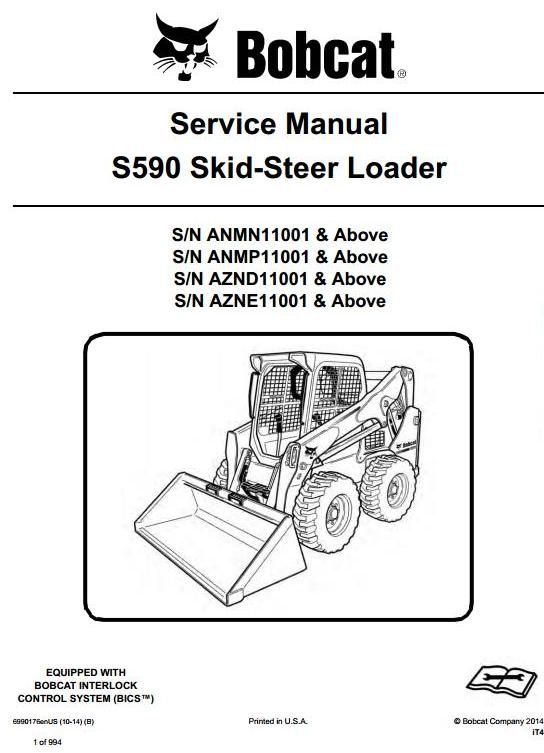 bobcat skid steer loader s590 s n anmn anmp aznd azne 11001 up rh pinterest com Bobcat Skid Steer Electrical Diagrams Bobcat Skid Steer Hydraulic Diagram