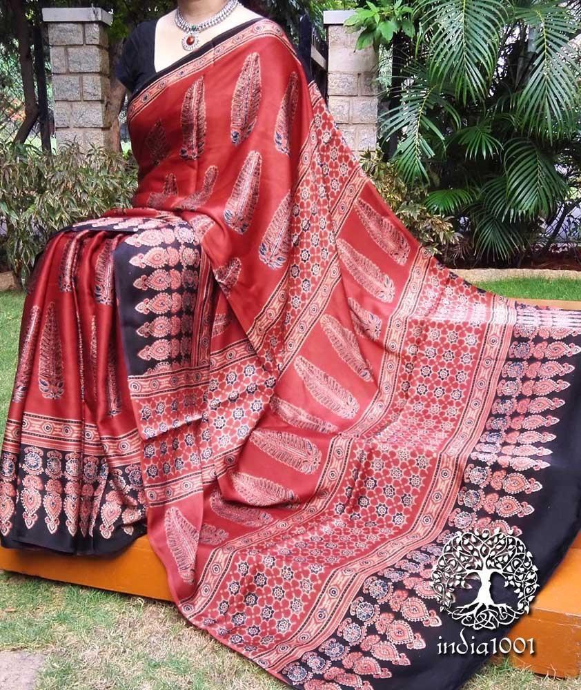 0a6ddb4eff5ff Elegant Hand Printed Ajrakh Modal Silk Saree | Sarees | Silk sarees ...