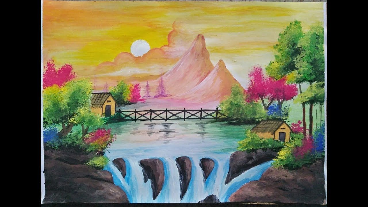 Nature Scenery Painting Watercolour Scenery Painting Youtube
