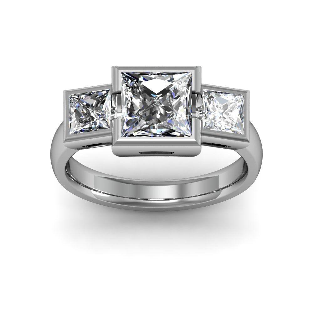 1.70ct. natural diamond princess cut bezel setting w/ princess cut ...