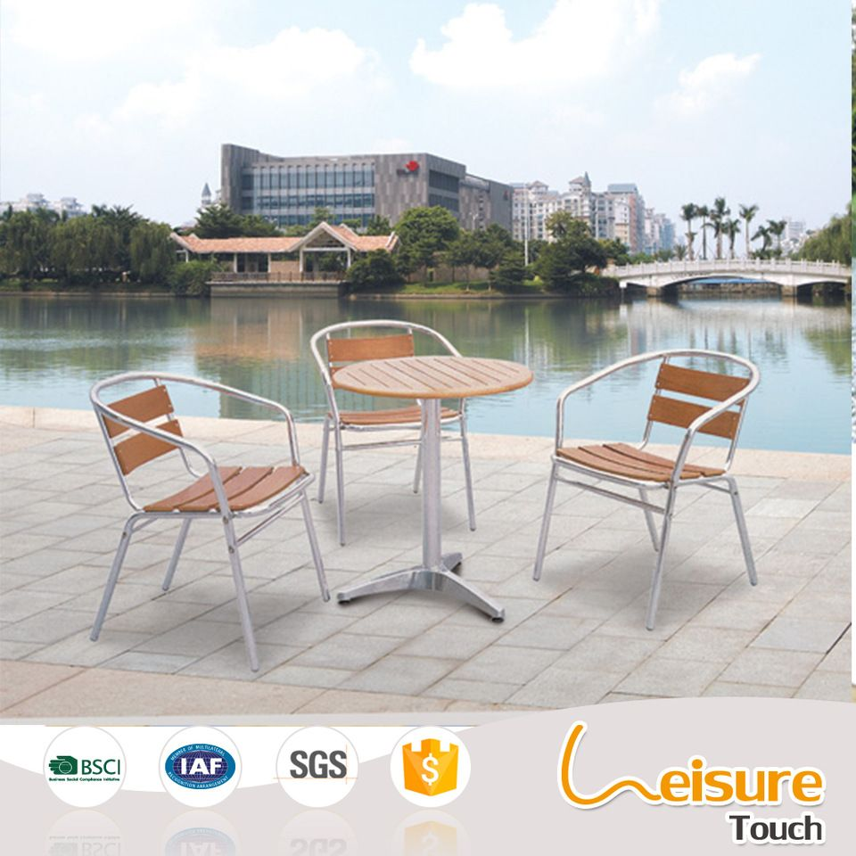 wholesale synthetic wood garden chair and table for cheap garden