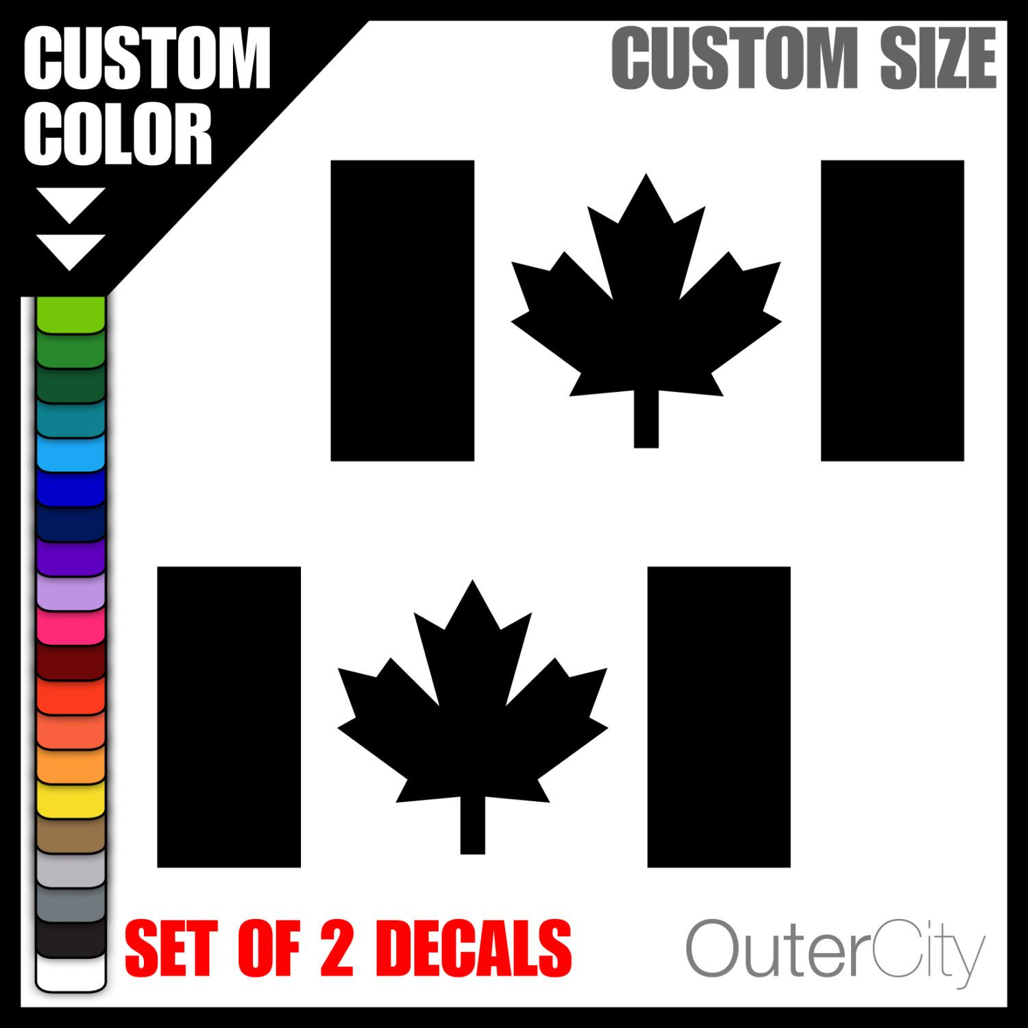 CANADIAN FLAG Decal Set Of  Canada Maple Leaf Window Label - Custom vinyl decals canada