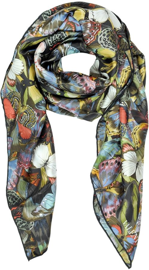 Valentino Camubutterfly Twill Silk Square Scarf on shopstyle.co.uk