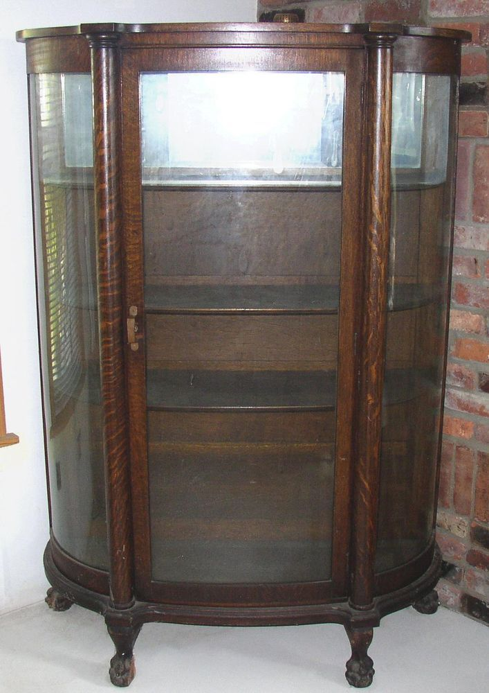 Antique Bow Front Oak China Cabinet Claw Feet Curved Glass Armarios