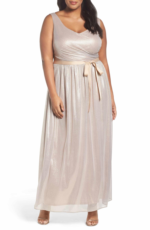Wedding dresses under $200  Main Image  Marina Metallic Gown Plus Size  Bridesmaid Dresses
