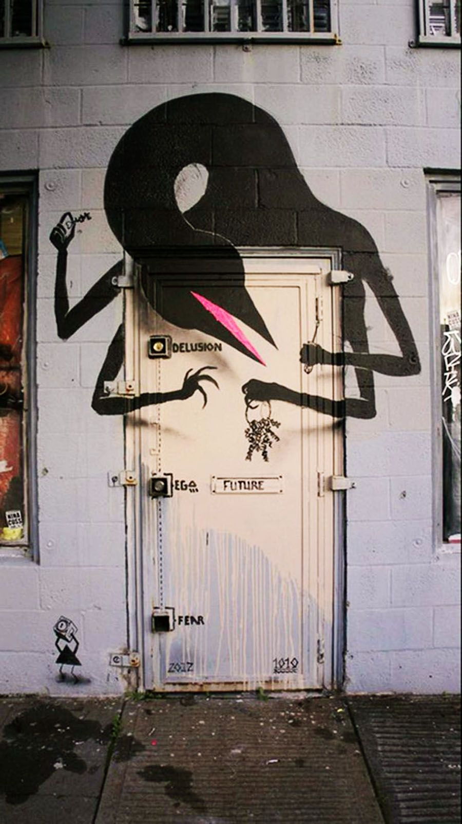 Street art by door in oakland us art pinterest street