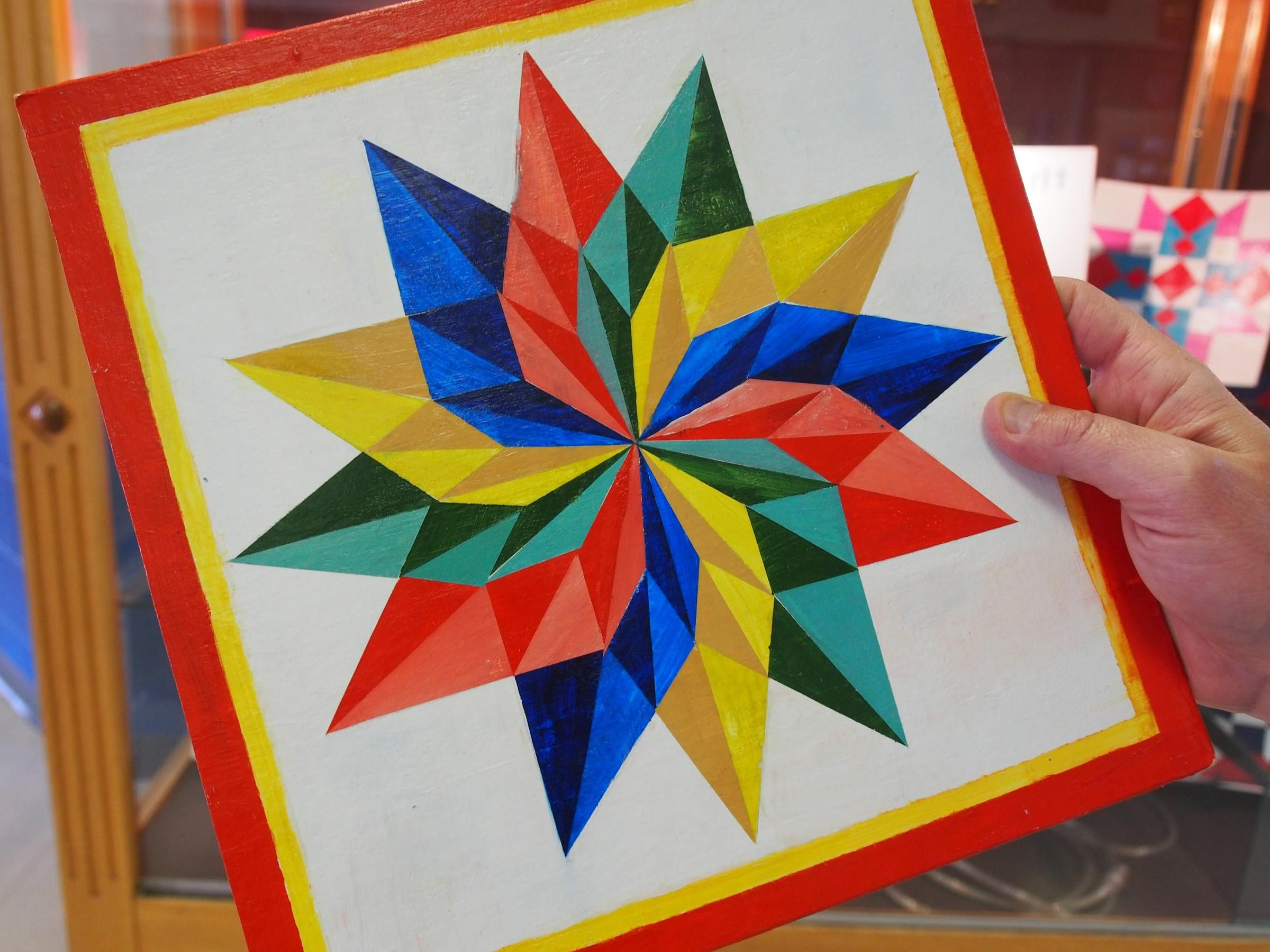 A Closer Look At One Of The More Intricate Barn Quilt