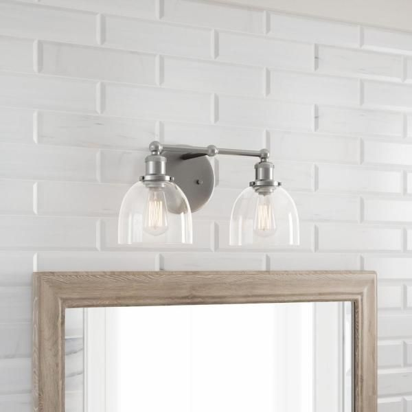 Home Decorators Collection Evelyn 2-Light Brushed Nickel ...
