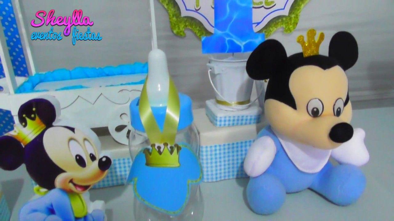 Mickey Bebe Príncipe Cumpleaños Mesa Temática Decoracion