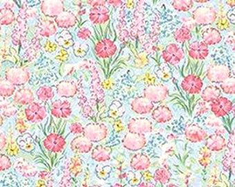 Beatrix Potter Fabric Benjamin Bunny Peter Rabbit Flopsy Bunnies Flower Garden BLENDER - Treasury Item