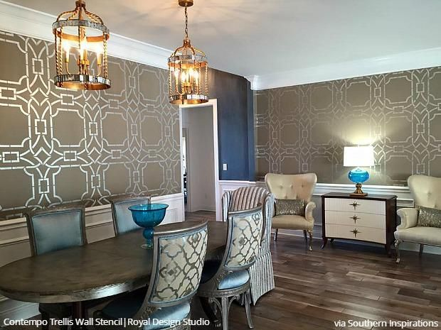 Dare To Be Different With Dining Room Stencils Dining Room Makeover Dining Room Walls Dining Room Decor