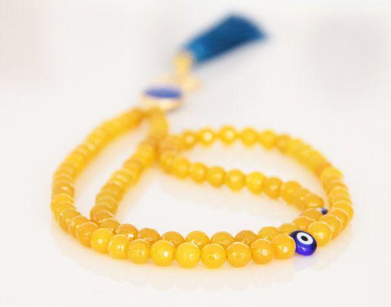 Yellow Glass Bead Meditation Necklace