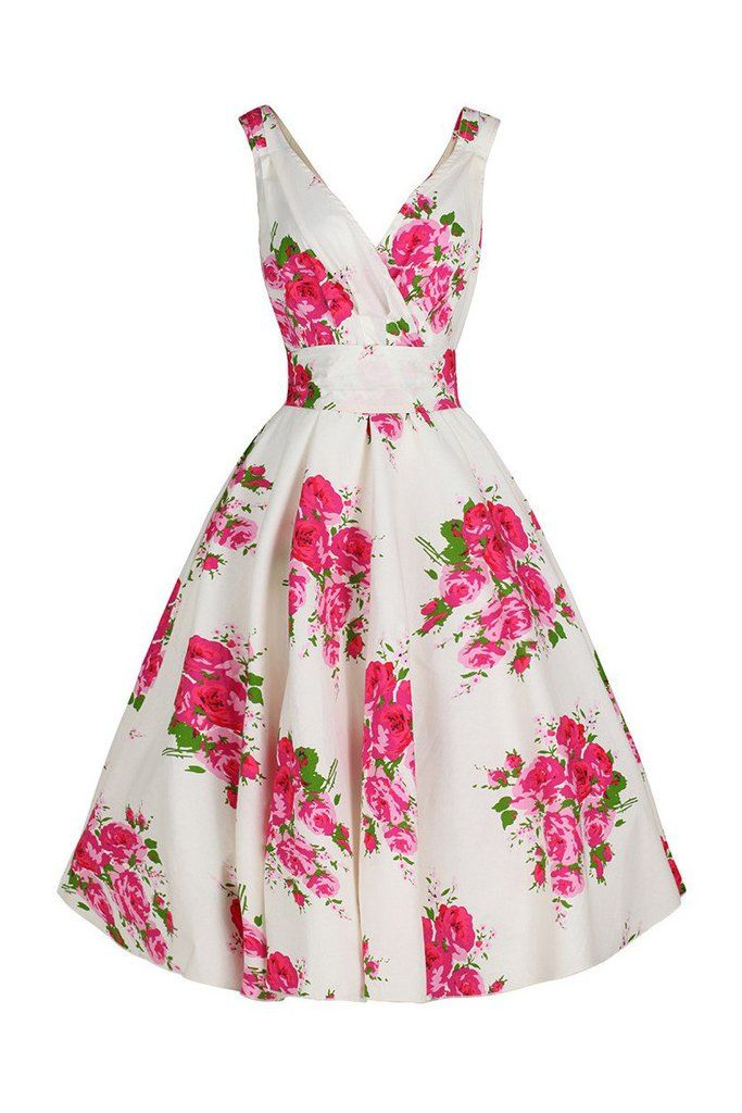 Ivory White Floral Swing Dress - Pink & Green Floral Print | Helen ...