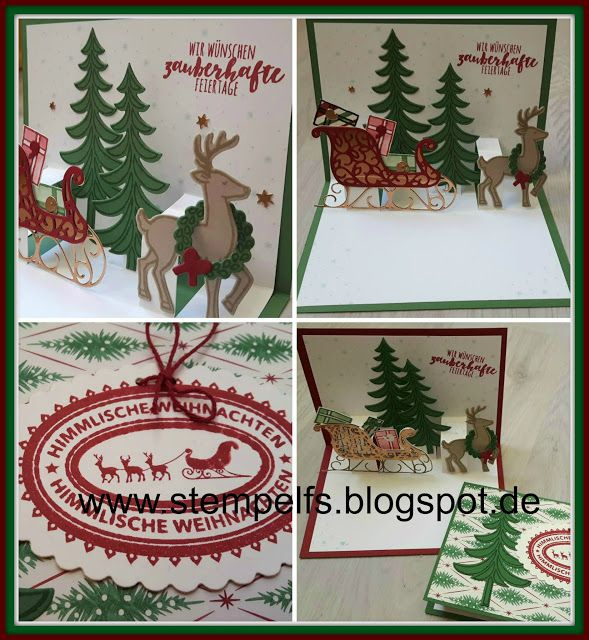 pop up karte weihnachtsschlitten stampin up ideen team. Black Bedroom Furniture Sets. Home Design Ideas