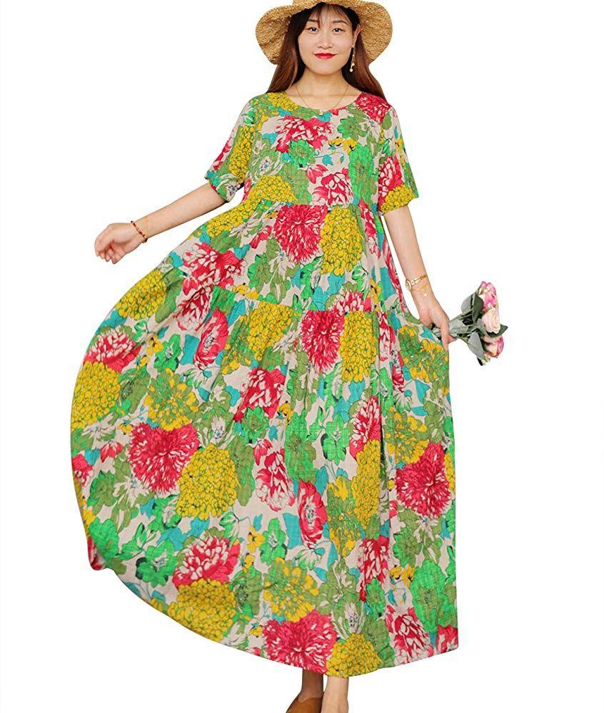 Amazon Com Yesno Women Casual Loose Long Maxi Bohemian Floral Dress Layered Lightweight Su Short Sleeve Floral Dress Floral Dresses Long Bohemian Floral Dress [ 1000 x 846 Pixel ]