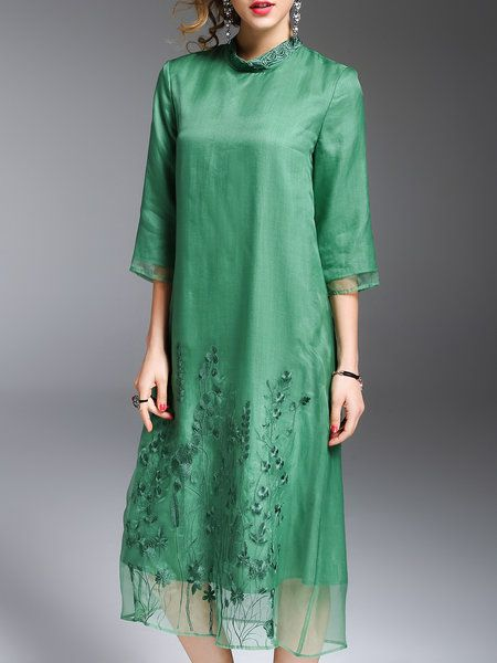 Shop Midi Dresses - Green Shift Embroidered Casual Silk Midi Dress online. Discover unique designers fashion at StyleWe.com.