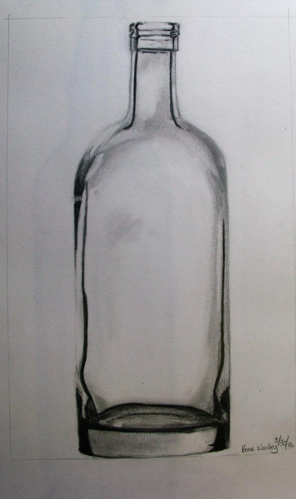 Glass Bottle Pencil Drawing 01 By Woolleybrammoth Bottle Drawing Pencil Drawings Glass Bottles