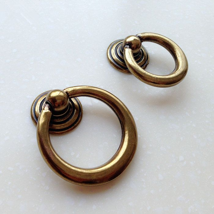 Antique Brass Drawer Pull Dresser Pull Knobs Drawer Knob Pulls Handles Drop  Rings Kitchen Handle By
