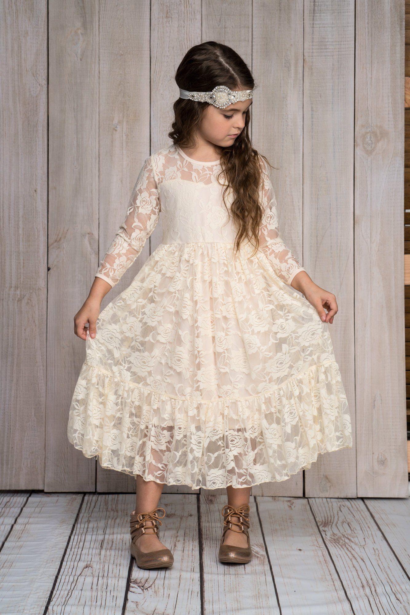 Ivory Flower Girl Dress,Floor Length,flower girls,Ivory ...  Ivory Lace Vintage Flower Girl Dress