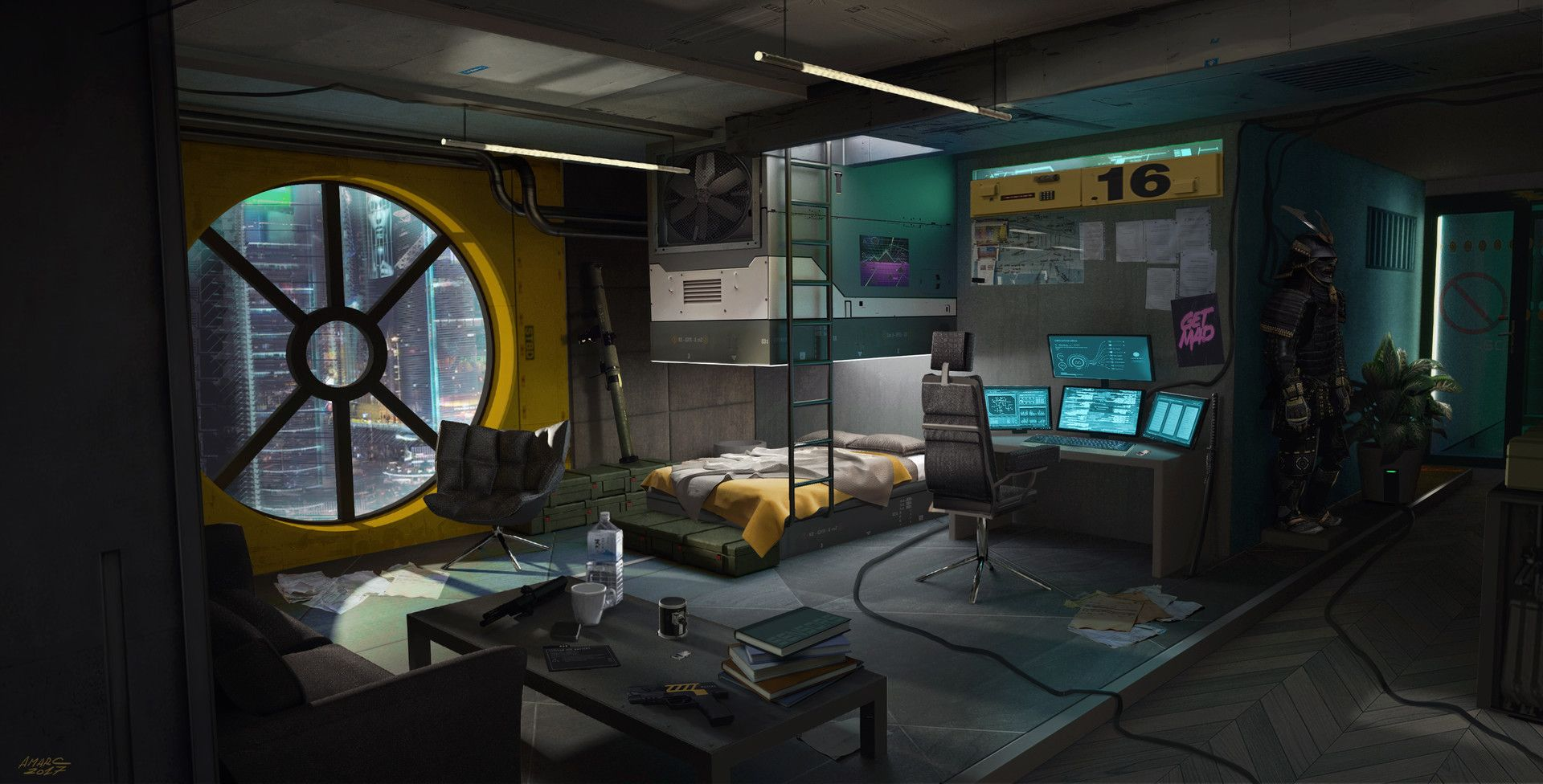 Cyberpunk Sci-Fi Spaceship Bedroom