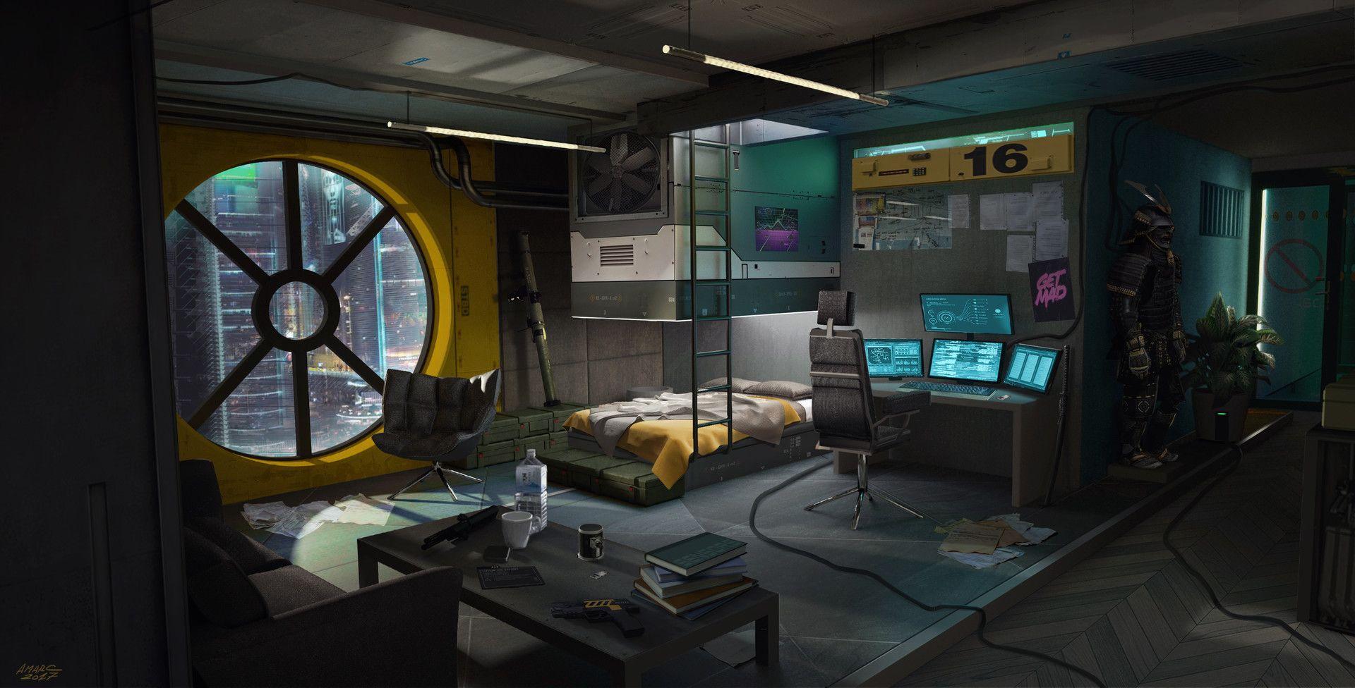 Artstation cyberpunk room adrian marc concept art for Sci fi decor