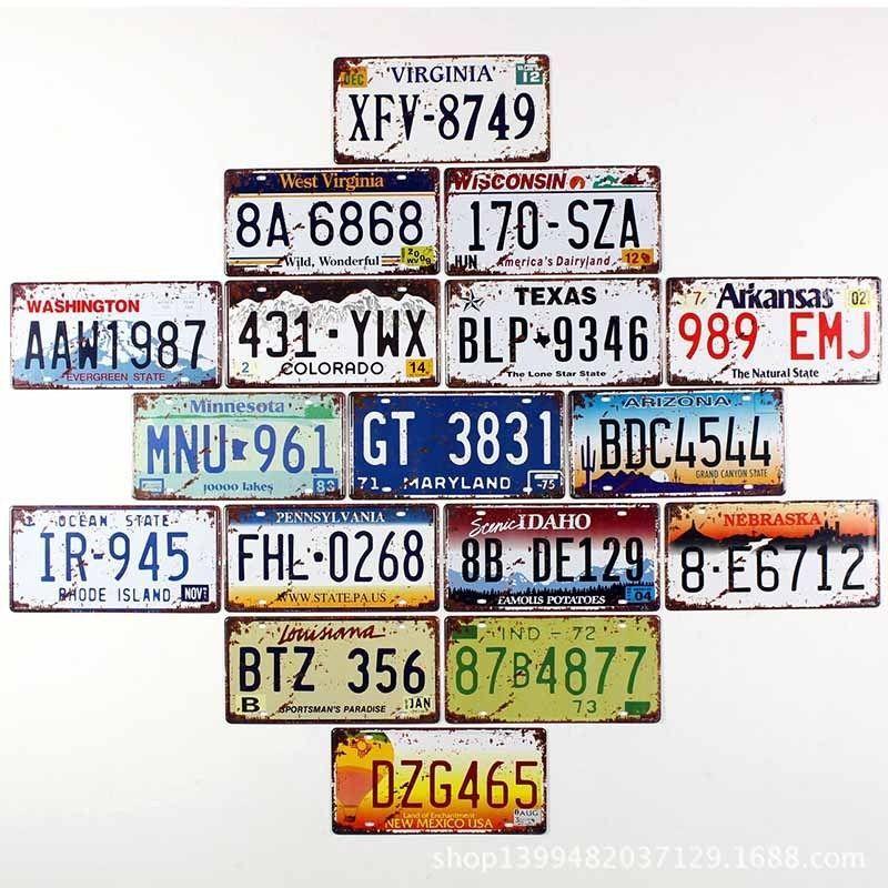 Details About 15 30cm Retro License Plate Tin Sign Plaque Metal