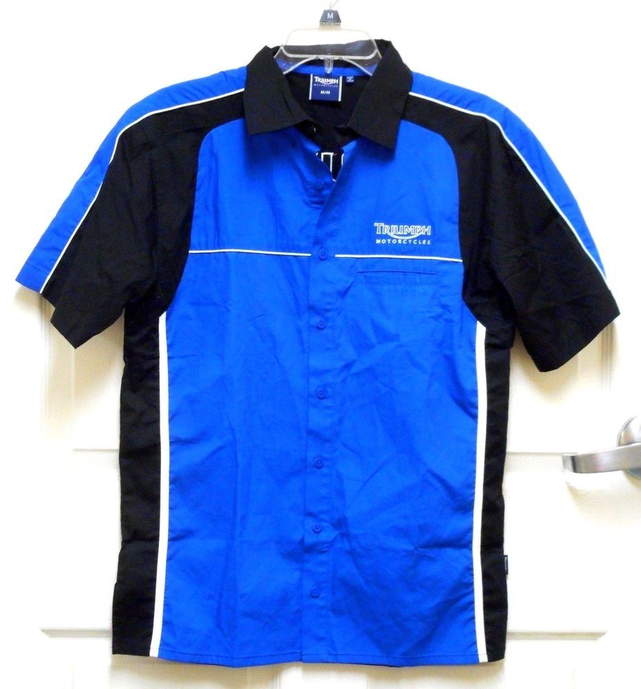 Triumph Motorcycle Pit Crew Mechanic Ssbutton Front Shirt Mens
