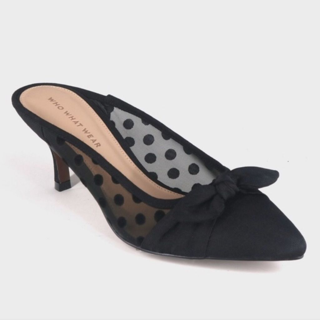 Who What Wear Shoes New Womens Polka Dot Bow Heeled Mules 11 Color Black Size 11 Kitten Heels Heeled Mules Bow Heels