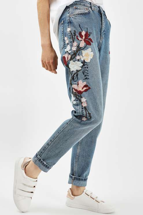 MOTO Floral Embroidered Mom Jeans - Topshop