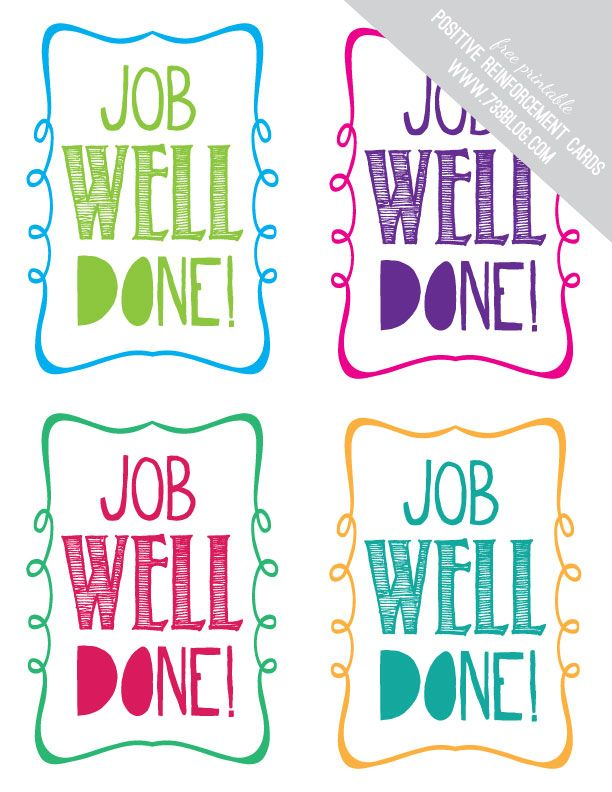 Job Well Done Printable Positive reinforcement, Free printable - job well done
